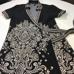 BCBGMaxAzria Wrap Dress Black Floral Alberta